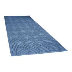 Bungalow Flooring - 36 in. L x 100 in. W Medium Blue Waterguard Diamonds Mat - Made to order. Distinct design traps dirt, resists fading, rot and mildew. Indoor and outdoor use. 36 in. L x 100 in. W x 0.5 in. H