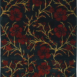 Safavieh - Safavieh Metro MET976C, Black, 6'x9' Rug - This collection features a variety of vivid, striking colors and modern floral patterns inspired by classic designs. Add soft luxury and bold elegance to your living area with the Safavieh Metro Collection.