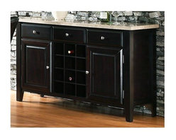Steve Silver Co. - Monarch Marble Top Server w Wine Rack in Blac - Beautiful composite marble top. Made of marble, stone and man-made materials. Multi-step Black finish. Contemporary style. Corner block construction. Tongue and groove joints. Has 2 doors and behind each door has 1 shelf. Select hardwood solids material. No assembly required. 56 in. W x 18 in. D x 34 in. H (165 lbs.)