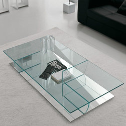 Cattelan Italia - Cattelan Italia | Kadir Coffee Table - Made in Italy by Cattelan Italia.Well balanced with utility, exceptional design and grace, the Kadir Coffee Table exudes translucent sophistication. Its fusion of glass and a mirrored bottom create a dramatic effect in any room. It is ideal for anyone who craves excellence in design. The Kadir Coffee Table is available in a variety of shapes and sizes, which is sure to match your modern living space. Easy to maintain and always practical, it comes with compartments on its interior shelf for optimal organization.  Simple and pleasing to the eye, it will last for generations to come.
