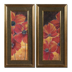 Grace Feyock - Grace Feyock Midnight Poppy I, II Wall Art / Wall Decor X-75533 - Vibrant reds and golds are displayed and surrounded by black, taupe and gold marble print mats. Frames and fillets have a bronze undertone with dark brown and black wash.