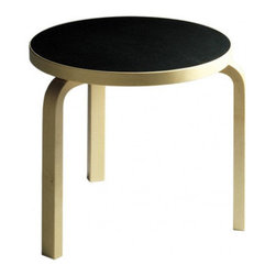 Artek - End Table - Features: -Three legs, L-Legs made from birch in natural lacquer.-Table top edge made from birch in natural lacquer.-Table top in 1.6'' (larger tables) or 1.2'' (smaller tables) thickness.-Collection: Table.-Distressed: No.-Country of Manufacture: Finland.Dimensions: -1.6'' Thick table top dimensions: 28.3'' H x 39.4'' W x 39.4'' D.-1.6'' Thick table top dimensions: 28.3'' H x 29.5'' W x 29.5'' D.-1.6'' Thick table top dimensions: 28.3'' H x 23.6'' W x 23.6'' D.-1.2'' Thick table top dimensions: 17.3'' H x 18.9'' W x 18.9'' D.-Overall Product Weight: 13.2 lbs.