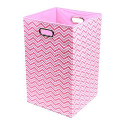 Modern Littles - Rose Zig Zag Folding Laundry Basket - Keep laundry tidy, organized and add a pop of colorful decor to a room with this folding laundry bin. Perfect for the bathroom, closet or laundry room, it folds flat when not in use for easy storage, and the lightweight design features handles for effortless carrying.