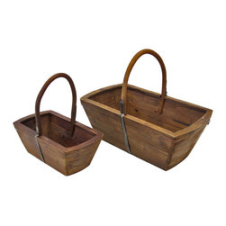Zeckos - Pair of Nesting Wooden Baskets - This pair of rustic wooden baskets adds a decorative, yet practical, accent to your home. The largest one measures 17 inches tall (including handle), 20 inches long, 12 inches wide and the smaller basket measures 14 inches tall (including handle), 13 1/2 inches long, 8 inches wide. The larger basket would be great next to a chair, full of magazines, and the smaller basket might be a good place for your keys on the kitchen counter. They make a great housewarming gift for a friend.