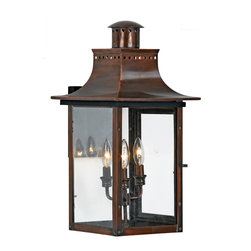 Quoizel - Quoizel CM8412AC Chalmers 3 Light Outdoor Wall Lights in Aged Copper - Long Description: From the Charleston Copper Lantern Collection, this piece gives you the historic look of gas lighting, but without the hassle of a propane feed. It is all electric, solid copper and hand riveted, giving your home the romantic, reproduction style of antique gas lights still popular today on many of the charming homes in New Orleans and Charleston.