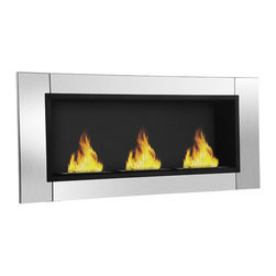 Moda Flame - Devant Ventless Bio Ethanol Wall Mounted Fireplace - The Devant ethanol fireplace brings elegance and awe to any room with its sleek stainless steel frame. Its three burner flame makes a dramatic statement in any room. No need to worry about venting, building a chimney or running any gas lines as it burns clean Moda Flame ethanol fireplace fuel. Its as simple as pouring the Moda fuel into the burner and lighting it with an extended lighter to enjoy the real flame ambiance.