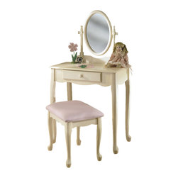 "Powell Furniture - Powell Furniture Girl's Vanity with Mirror and Bench Set in Off-White - Powell Furniture - Kids Vanities - 929290 - Enchanting vanity features an adjustable mirror and full size drawer. Table top provides space for cosmetics and beauty supplies. Lovely pastel pink upholstered bench. ""Off white"" finish is accented with charming queen Anne legs."