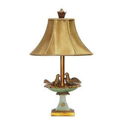 Titan Lighting - Bedside Lamps: 26 in. Love Birds In Bath Lamp 684-32743 - Shop for Lighting & Fans at The Home Depot. This love birds in bath lamp will enhance any decor. Coordinating finial and matching fabric shade add to the beauty. Elegant but whimsical piece.
