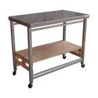 Oasis Concepts - Oasis Concepts X-Large Stainless Steel Folding Kitchen Island - The stainless steel folding kitchen island provides 12 square feet of extra space. The food safe tabletop makes it easy to prepare meals when counter space is tight. The lockable wheels allow you to transport a finished meal from the kitchen to the dining room, making it easy to entertain guests. Once you are finished, fold the island up to just 5.75 inches and stow it away until the next time you need it.