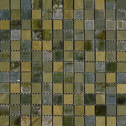 "Glass Tile Oasis - Dark Oats/Forest-Sold by the Box 1"" x 1"" Green Kitchen Tumbled Glass and Slate - Sheet size:  12 3/4"" x 12 3/4"".     Tile Size:  1"" x 1""      Tiles per sheet:  121     Tile thickness:  1/4""      Grout Joints:  1/8""     Sheet Mount:  Mesh Backed     Sold by the box - 5 sheets per box    -  Customize your hardest working surfaces with our Slate series. Choose from many patterns and an array of colors in honed and cleft finishes."