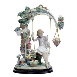 """Lladro Porcelain - Lladro Swing Into Spring Figurine - Plus One Year Accidental Breakage Replacemen - """" A moment of melancholy in a garden with newly budding flowers. Spring is here at last and a young girl retires to her favorite corner to contemplate, a moment for memories or perhaps the sighs of a first love. Together with her pet, she moves back and forth softly on a swing, carried along at the rhythm of her thoughts. Famous Lladro porcelain flowers, are shown off here with great chromatic harmony combining tones and forms and creating a whole that speaks to us of springtime. Hand Made In Valencia Spain - Sculpted By: Juan Carlos Ferri Herrero - Limited To: 1000 Pieces Worldwide - Included with this sculpture is replacement insurance against accidental breakage. The replacement insurance is valid for one year from the date of purchase and covers 100% of the cost to replace this sculpture (shipping not included). However once the sculpture retires or is no longer being made, the breakage coverage ends as the piece can no longer be replaced. """""""