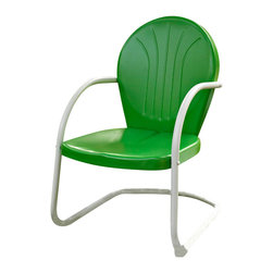 Crosley - Griffith Metal Chair in Grasshopper Green Finish - Relax outside for hours on our nostalgically inspired Griffith metal outdoor furniture. Kick back while you reminisce in this sturdy steel chair, designed to withstand the hottest of summer days and other harsh conditions. The chair's non-toxic, powder-coated finish is available in various colors to complement your outdoor accessories.