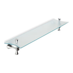 "StilHaus - Frosted Glass Bathroom Shelf with Chrome Holders - 25.6"" glass shelf."