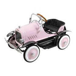 Dexton - Deluxe Roadster Pedal Riding Toy - Pink - DX-20136 - Shop for Tricycles and Riding Toys from Hayneedle.com! Nothing says sophisticated toddler like this Deluxe Pink Roadster Pedal Car Riding Toy. Help her get where she needs to go in style. Today's toddlers are busy. Their social calendars are jammed with obligations both real and imaginary. How is your little one going to get her stuffed panda to the vet in time to meet with Susan and Mr. Wrinkles for tea? She is in need of reliable transportation. This pedal roadster features sturdy metal construction and reliable (and steerable!) wheels. If it's getting toward night-night time she can switch on the working headlights. Where ever she needs to go the Deluxe Pink Roadster will get her there. And it will get her there in style. This baby's loaded with features your little lady will love like glossy bodywork finishing classic body striping and an adjustable windshield. The car also comes with a spare whitewall tire with matching pink hubcap. Your special little lady will love peddling through the neighborhood (or the playroom) in this classically-styled pink roadster. And you'll love watching her. Recommended ages 3-6 years. Dimensions: 37.5L x 22W x 24H inches. Weight capacity 66 lbs. About DextonDexton has been manufacturing distinguished high-quality children's musical instruments and ride-ons for over 10 years. Located in the Orange County area of Southern California its factories produce 50 of the most popular musical instruments to professional standards that music teachers prefer. Dexton also produces a wide assortment of battery-powered and pedal car ride-ons as well as children's furniture. Dexton uses the highest-quality wood leather and chrome-plated steel when manufacturing its safe kid-friendly products.