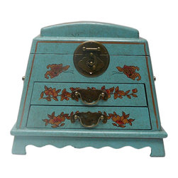 Golden Lotus - Chinese Blue Flower Bird Mirror Drawers Storage Box - This jewelry / storage accent box is modified from the traditional Chinese box. It is made of cardboard paper and covered with artificial leather.
