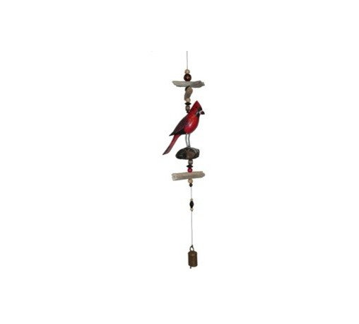 CohassetImports - Cardinal Bell - Cardinal is carved from solid wood and then hand painted. The Cardinal is then arranged between pieces of drift wood, wind fall and beads. The final touch is the specially made bell that hangs from bottom cord.