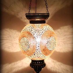 Ottoman Style Mosaic Ceiling Pendant - Decorative Mosaic Glass Turkish Style Pendant Ligting