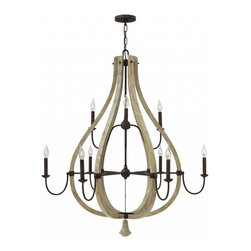 Fredrick Ramond - Fredrick Ramond-FR40578IRR-Middlefield - Nine Light Chandelier - Middlefield's rustic chic design captures a historical feel with its solid distressed wood and steel construction. Several styles feature a pear-shaped wood finial as an elegant detail that may be hung inside or outside the frame.
