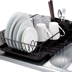 None - Black 3-piece Dish Drainer Set - Three Piece Dish Drainer set has a  moisture tray that drains directly into adjacent sink,vinyl-coated wire rack with dish and cup slots. Constructed of metal and plastic,this drainer comes with a plastic cutlery caddy.
