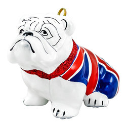 Frontgate - Union Jack Flag Bulldog Ornament - Each ornament takes up to 7 days to produce. Constructed of 100% European-made glass. Arrives in a handsome black lacquered box for gifting and safekeeping. Hanger is included for easy display. Our collectible Union Jack Flag Bulldog Ornament from Joy to the World was created with the utmost attention to quality and detail. The finest artisans in Poland individually mouth blow and hand paint each ornament, achieving new levels of innovation and artistic integrity in their designs. Using only traditional old world production methods and materials sourced from European countries, they ensure that each ornament is an impressive work of art that will be treasured for generations.  .  .  .  . Made in Poland.