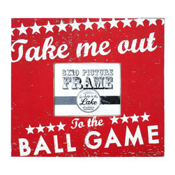 Go Jump in the Lake - Go Jump in the Lake Take Me Out to the Ball Game Picture Frame - Sporty Style. Celebrate a great American pastime and your charming decor with the Take Me Out to the Ball Game Picture Frame from Go Jump in the Lake. Company owners Laurie and Lee Dayvault make each of their pieces by hand, screen-printing and distressing the wood to create a laid-back, rustic look. This shabby chic frame fits an 8-by-10 photo and comes in bright red with stylized white text. Water-resistant paint prevents fading, while a picture wire on the back allows for easy installation. Use it to frame your favorite summer memory or to showcase an unforgettable family photo. Play ball!Handcrafted in the USAPlywood and water-resistant paintBack is fitted with picture wire
