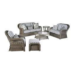South Sea Rattan - Arcadia 6 Piece Outdoor Patio Seating Set, Admiral - The Arcadia outdoor patio group is made of heavy all weather loom resin. This set can be placed directly in sunlight, rain, and all elements. The Arcadia quality is unmatched and comes in Driftwood stain. Please select Kiwi, Admiral, Camel, or Buttercup fabrics for your cushions.