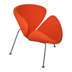 """Orange Slice Chair - n 1958 Pierre Paulin became the designer for the furniture company Artifort. Pierre Paulin went on to design a series of sculptural chairs that were, in his words; """"simply functional, friendly, fun and colorful."""" The Easy Chair is such a chair, based on the 1960 design, the 'Orange Slice' chair. Pierre Paulin designed the 'Orange Slice' chair with two completely identical shells which sat on a chrome frame. The shells are designed to sit on a slant, this angle provides an amazingly comfortable seat that allows one to easily shift positions and always remain snugly content. As a testament to its incredible comfort and appealing design, the 'Orange Slice' chair has been in constant production at Artifort since 1960."""