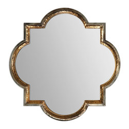 Uttermost - Uttermost Lourosa Antiqued Gold Mirror 12862 - Hammered metal frame is finished on the inside in a heavily antiqued gold with outer edges finished in antiqued silver.
