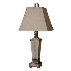 Uttermost - Uttermost Gilman Table Lamp w/ Rectangle Shade in Beige Linen Fabric - Table Lamp w/ Rectangle Shade in Beige Linen Fabric belongs to Gilman Collection by Uttermost Aged ivory finish with burnished antique silver details and a light gray wash. The rectangle shade is a beige linen fabric with natural slubbing. Table Lamp (1)