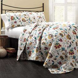 Lush Decor - Messina Yellow Three-Piece Queen Quilt Set - - Our Messina quilt will redefine what floral prints should be all about. This reversible quilt has a similar but different size print on each side so you can change it based on your mood. Utilizing the best of quilting sewing techniques, this 100% cotton quilt gets softer each time it is washed  - Set Includes: 1 Quilt and 2 shams  - Sham: 20-Inch H x 26-Inch W  - Care Instructions: Machine wash cold Lush Decor - C16831P13-000