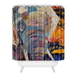 DENY Designs - Elizabeth St Hilaire Nelson Elephant Shower Curtain - Who says bathrooms can't be fun? To get the most bang for your buck, start with an artistic, inventive shower curtain. We've got endless options that will really make your bathroom pop. Heck, your guests may start spending a little extra time in there because of it!