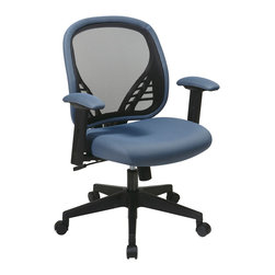 Office Star - Office Star DuraGrid Back and Blue Mist Mesh Seat Managers Chair - DuraGrid Back and Blue Mist Mesh Seat Managers Chair with Adjustable padded arms and angled nylon base.  Pneumatic Seat Height adjustment, pivot point tilt, 360? swivel, 2 to 1 Synchro Tilt with tilt tension and lock What's included: Office Chair (1).