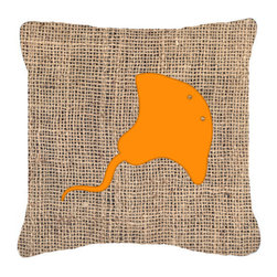 Caroline's Treasures - Stingray Burlap and Orange Fabric Decorative Pillow Bb1095 - Indoor or Outdoor Pillow from heavyweight Canvas. Has the feel of Sunbrella Fabric. 18 inch x 18 inch 100% Polyester Fabric pillow Sham with pillow form. This pillow is made from our new canvas type fabric can be used Indoor or outdoor. Fade resistant, stain resistant and Machine washable..