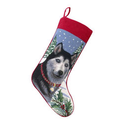 "Peking Handicraft - Siberian Huskly Needlepoint Stocking - With its charming vintage design and intricate needle point quality– our adorable pet stockings are ready to fill with toys and treats for your best friends!  This well made stocking features a plush velveteen color coordinated back and is meant to last for years!  Indeed Decor will donate 20% of profits to animal rescue charities.  Dry Clean Only. 11"" x 18""."