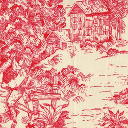 Close to Custom Linens - Toile Cherry Red Pillow - Escape to simpler times. This charming square pillow depicting village life is the perfect accent piece for your sofa or bed.