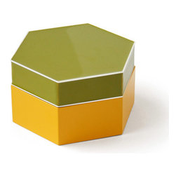 Enamel Hex Box - I am crazy about this hex-shaped enamel box by Jonathan Adler. It would be a stylish way to store keys on a table at the entry to a home.