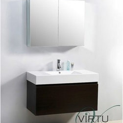 "Virtu USA - Virtu USA 39"" Zuri Single Sink Bathroom Vanity with Polymarble Countertop - Weng - This magnificent, ultra-modern vanity is the perfect example of quality. Take notice in the magnificent finish as well as the high gloss, polymarble basin. If storage is what you're looking for, this vanity contains two drawers on Bellucci soft closing slides that will be sure to hold all of your bathroom essentials. Featuring both design, as well as practicality, the decision to upgrade to this vanity will always be an easy one.Virtu USA has taken the initiative by changing the vanity industry and adding soft closing doors and drawers to their entire product line. By doing so, it will give their customers benefits ranging from safety, health, and the vanity's reliability.FeaturesMain cabinet: 39"" W x 18.5"" D x 23.4"" HMirror/Medicine cabinet: 35.6"" W x 6"" D x 25.6"" HMaintenance-free high gloss polymarble countertop with integrated basinWenge finishWater resistant low V.O.C sealerPlywood and Composite with MelamineAdjustable slidesMain cabinet: 1 Revealed drawer with BELLUCCI' soft closing slidesMain cabinet: 1 Concealed drawer with BELLUCCI' soft closing slidesMirror/Medicine cabinet: 2 Doors with BLUM' soft closing hingesPre-drilled single hole faucet mountMinimal assembly requiredPS-103 Faucet with Pop Up and Drain Assemblies Included CUPC, UPC and IAPMO Certified Faucet with Limited Lifetime Warranty Lead-Free Faucet Compliant with AB1953 and S152 Eco-Friendly WaterSense Certified 1.5 GPM flow rateHow to handle your counterView Spec Sheet"