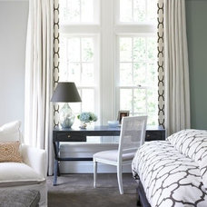 Window treatment liner matches bedding for neat look.