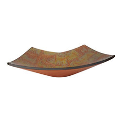 Yosemite Home Decor - Copper Zen Glass Basin - Vibrant orange and yellow brush pattern rectangular sink