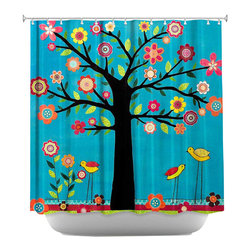 DiaNoche Designs - Sunshine Shower Curtain - Sewn reinforced holes for shower curtain rings. Shower curtain rings not included. Dye Sublimation printing adheres the ink to the material for long life and durability. Machine washable. Made in USA.