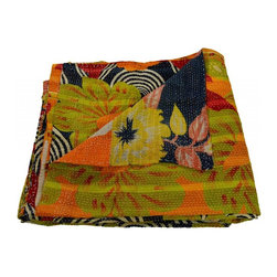 Modelli Creations - Vintage Reversible Kantha Throw With Floral Design In Green, Black And Orange - Vintage reversible kantha throw with floral design in lime green, black and orange.