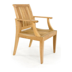 Westminster Teak Furniture - Laguna Dining Armchair - Take the party outside with this teak dining armchair. It has a transitional style that sits well with both traditional and modern dining tables. The lumbar backrest and scooped seat invite your guests to linger just a little longer after dinner is done.