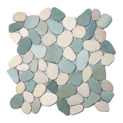 "Pebble Tile Shop - Sliced Sea Green and White Pebble Tile - Each pebble is carefully selected and hand-sorted according to color, size and shape in order to ensure the highest quality pebble tile available.  The stones are attached to a sturdy mesh backing using non-toxic, environmentally safe glue.  Because of the unique pattern in which our tile is created they fit together seamlessly when installed so you cant tell where one tile ends and the next begins!    Usage:    Shower floor, bathroom floor, general flooring, backsplashes, swimming pools, patios, fireplaces and more.  Interior & exterior. Commercial & residential.    Details:    Sheet Backing: Mesh    Sheet Dimensions: 12\ x 12""    Pebble size: Approx 3/4\"" to 2 1/2\""    Thickness: Approx 3/8\""    Finish: Natural Sliced Green & White"""
