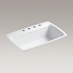 """KOHLER - KOHLER Cape Dory(R) 33"""" x 22"""" x 9-5/8"""" tile-in single-bowl kitchen sink with 4 f - The Cape Dory sink is a kitchen classic, with its generous single bowl that simplifies the task of washing large pots and pans. Crafted from enameled cast iron, this sink resists chipping, cracking, or burning for years of beauty and reliable performance."""