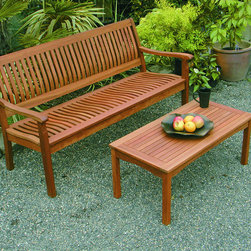 Phat Tommy - Phat Tommy Serenity 5-Foot Bench - This elegant outdoor bench is the perfect addition to your garden or entertaining space. It offers lumbar support and a curved seating area,which will provide comfort when you sit,and it is made from premium hardwood for durability.