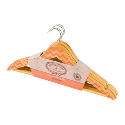 Enchante Accessories Inc - Sheffield Home Decorative Painted Wooden Hangers, Set of 4, Orange/Chevron - Organize your closet in style with Sheffield Home's set of 4 wood suit hangers. These hangers are made of solid hardwood with a polished chrome swivel hook. Cute painted designs. Each hanger features a slim, space-saving body, a set of notches to securely hang tops with straps.