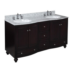 Kitchen Bath Collection - Palazzo 60-in Double Sink Bath Vanity (Carrara/Espresso) - This bathroom vanity set by Kitchen Bath Collection includes an espresso cabinet with soft close drawers and self-closing door hinges, Italian Carrara marble countertop with stunning beveled edges, double undermount ceramic sinks, pop-up drains, and P-traps. Order now and we will include the pictured three-hole faucets and a matching backsplash as a free gift! All vanities come fully assembled by the manufacturer, with countertop & sink pre-installed.
