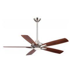 Minka-Aire - Minka-Aire Dyno 1-Light Brushed Nickel Ceiling Fan - F1000-BN - This 1-Light Ceiling Fan is part of the Dyno Collection and has a Brushed Nickel Finish.