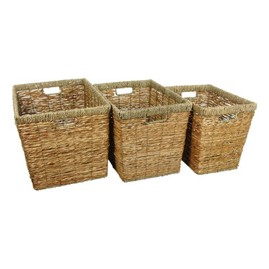 Oriental Furniture - Handwoven Natural Storage Bins, Set of 3 - Your busy home demands style, function and durability for all its storage needs. These smart storage bins come as a set of three. The metal frame and handles and the hand woven rush grass construction make them just the right choice.
