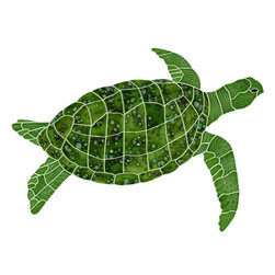 Glass Tile Oasis - Small Green Sea Turtle Pool Accents Green Pool Glossy Ceramic - We offer six lines of in-stock designs ready for immediate delivery including: The Aquatic Line, The Shadow Line, The Hang 10 Line, The Medallion Line, The Garden Line and The Peanuts Line. All of the mosaics are frost proof, maintenance free and guaranteed for life. Our Aquatic Line includes: mosaic dolphins, mosaic turtles, mosaic tropical and sport fish, mosaic crabs and lobsters, mosaic mermaids, and other mosaic sea creatures such as starfish, octopus, sandollars, sailfish, marlin and sharks. For added three dimensional realism, the Shadow Line must be seen to be believed. Our Garden Line features mosaic geckos, mosaic hibiscus, mosaic palm tree, mosaic sun, mosaic parrot and many more. Put Snoopy and the gang in your pool or bathroom with The Peanuts Line. Hang Ten line is a beach and surfing themed line featuring mosaic flip flops, mosaic bikini, mosaic board shorts, mosaic footprints and much more. Select the centerpiece of your new pool from the Medallion Line featuring classic design elements such as Greek key and wave elements in elegant medallion mosaic designs.